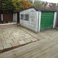 Old garden patio and shed