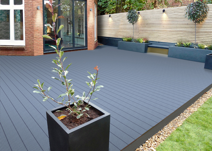 Large grey decking area
