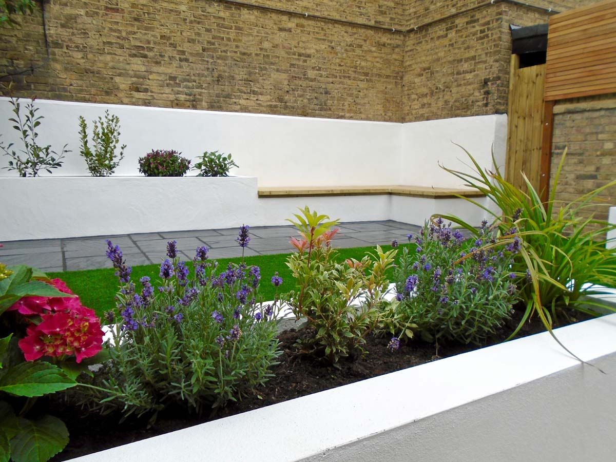White rendered garden seating Battersea