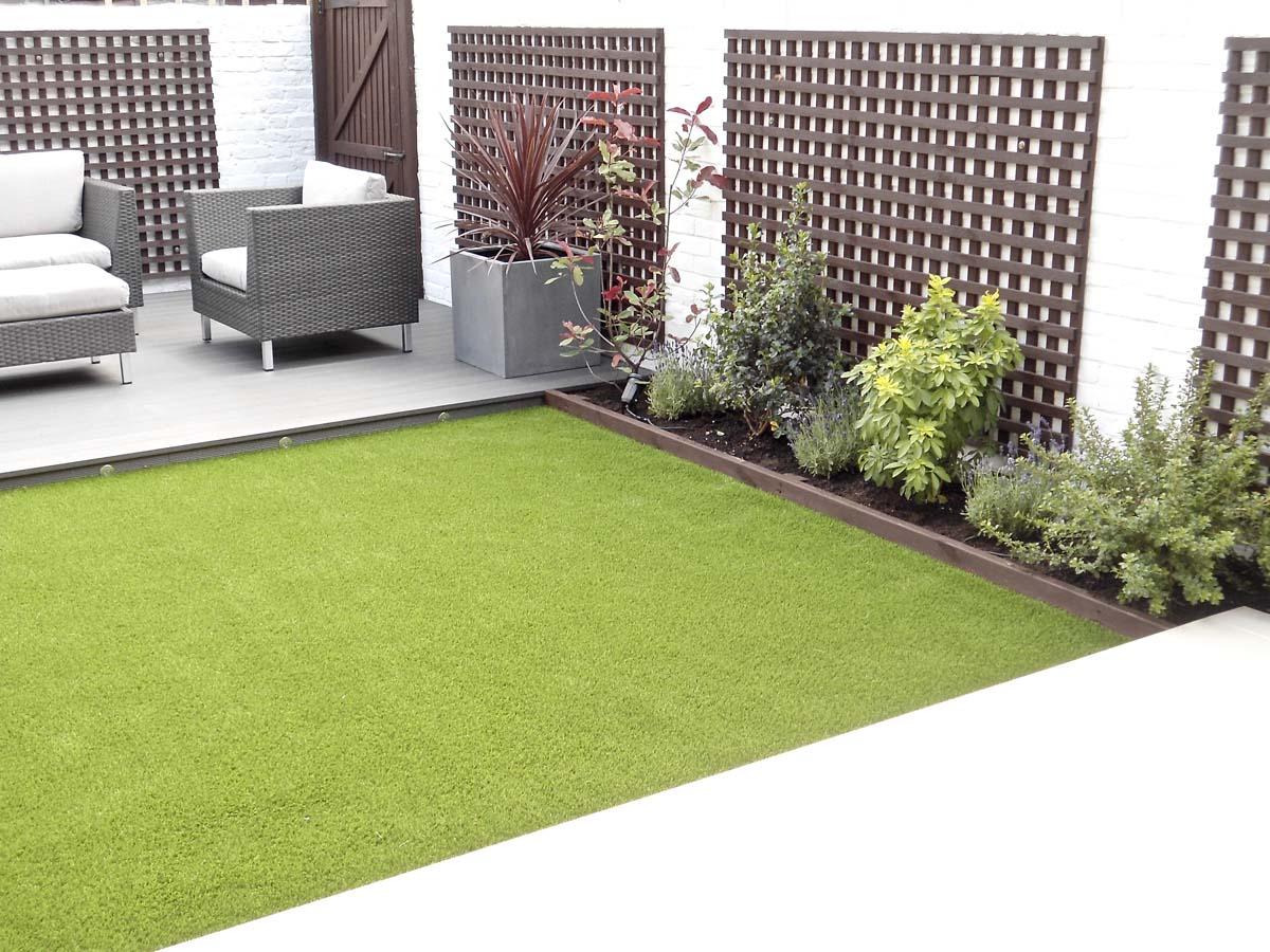 Modern garden decking area