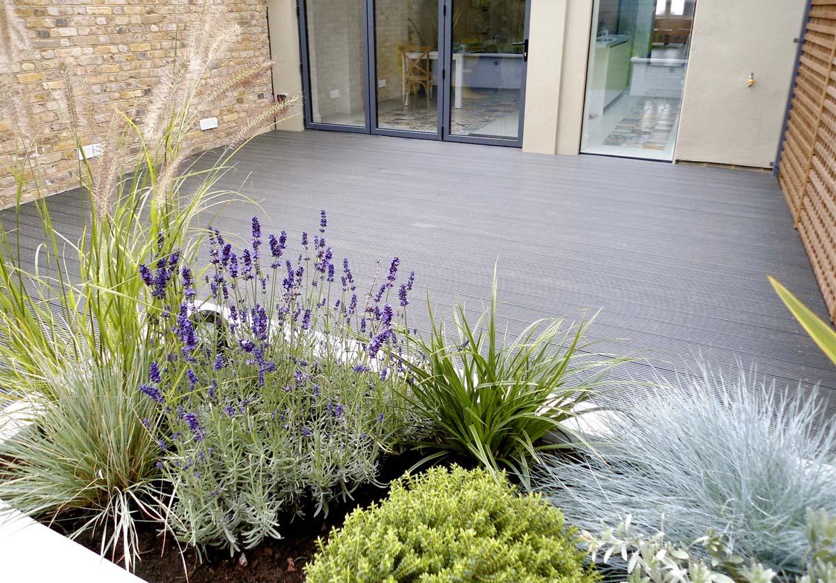 Grey garden decking area Putney