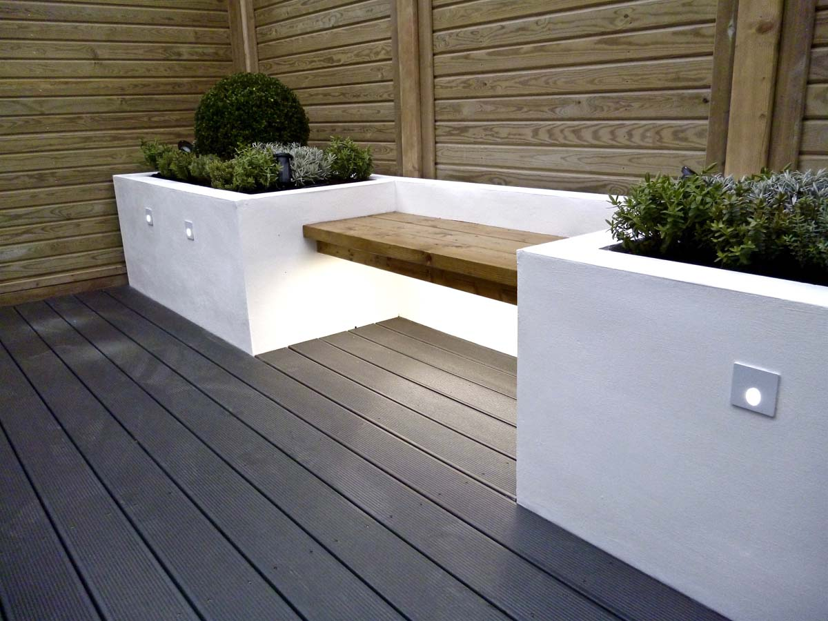 White rendered seating with lights