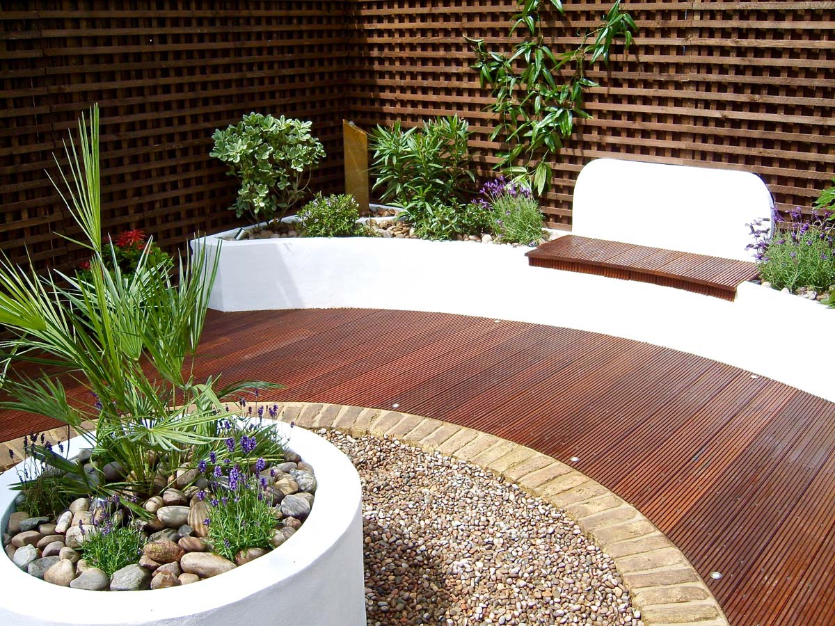 Circular decked garden seating area