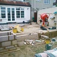 Construction work on garden