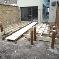 Beginning of construction on garden decking