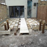 Construction process of decking