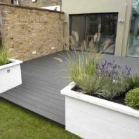 Large grey decking area Earlsfield