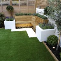 Rendered corner garden seating