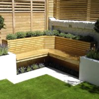 Brown decked garden seating