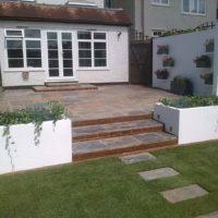 White rendered garden
