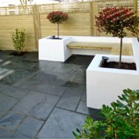 White rendered garden seating Wandsworth