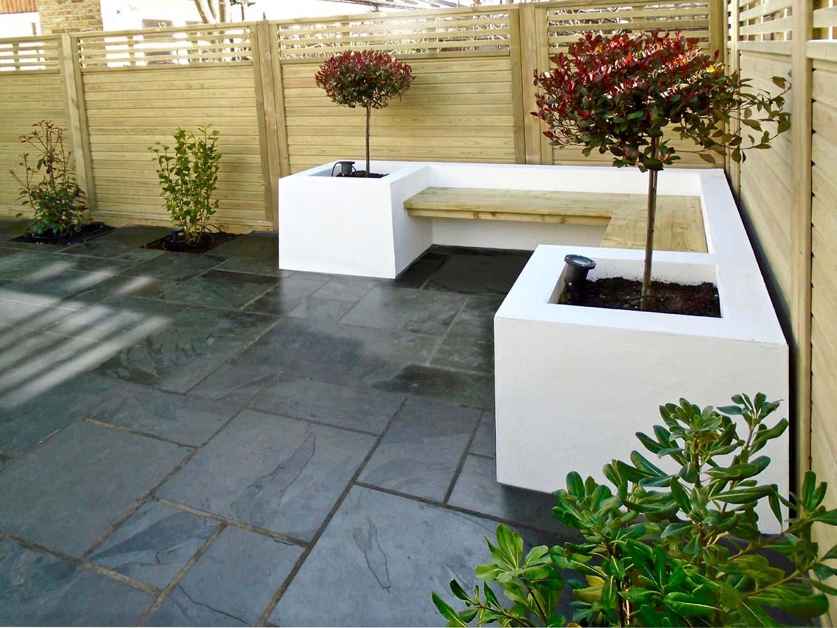 White rendered garden seating Wandsworth