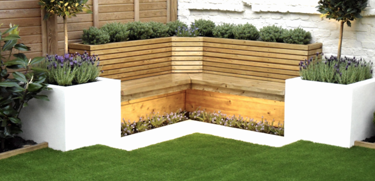 Incorporated garden seating area