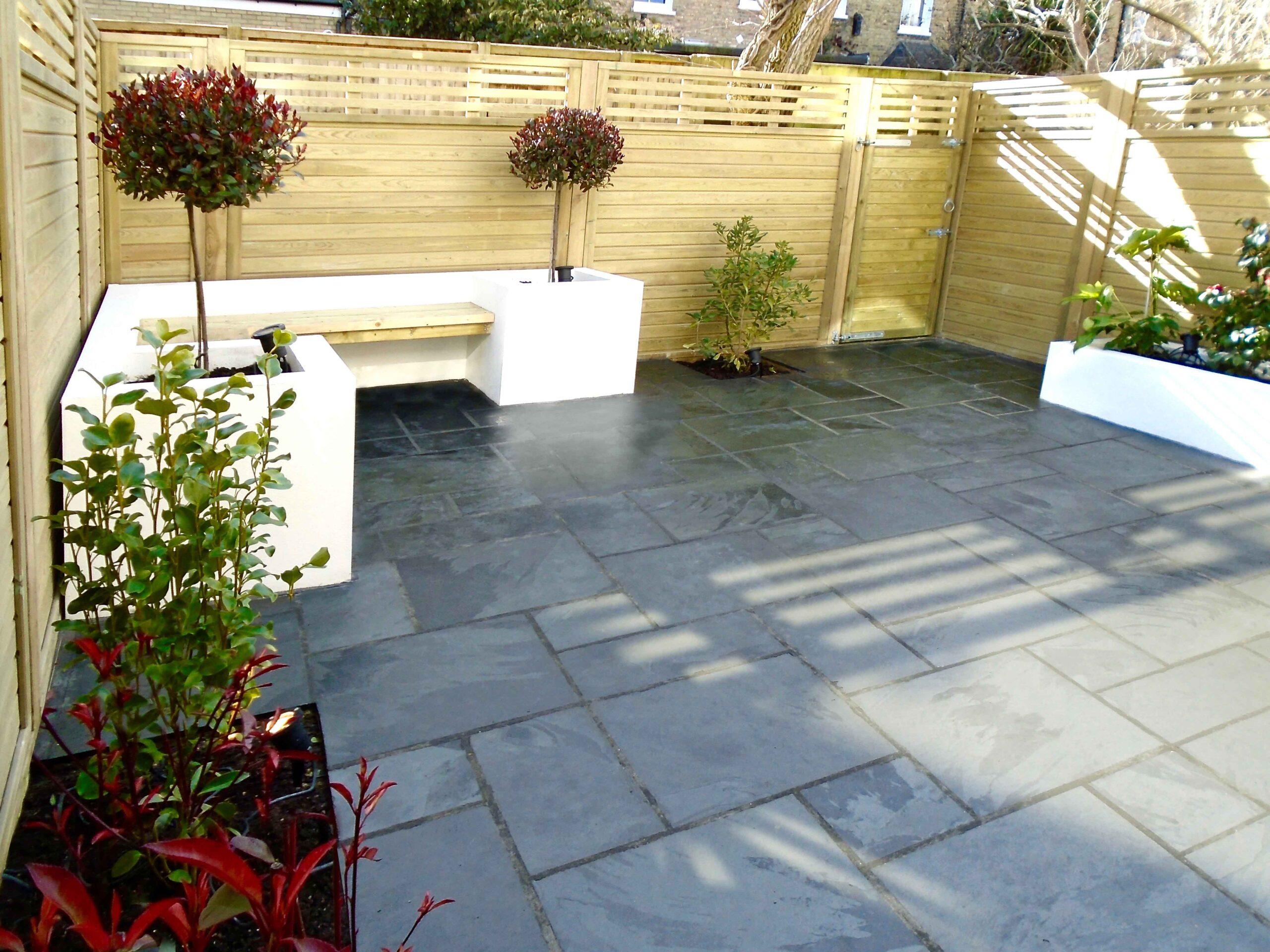 Rendered white garden seating Battersea