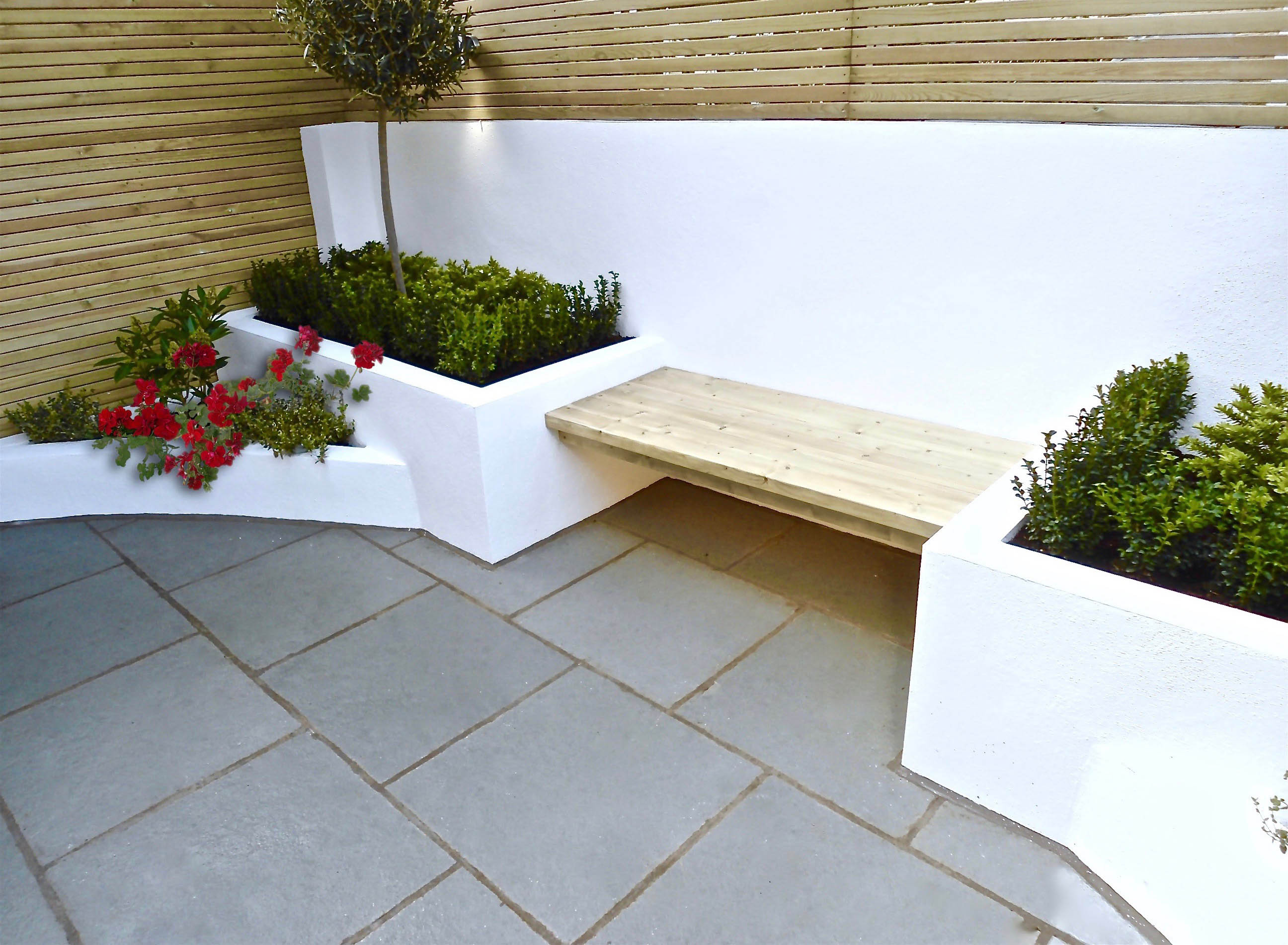 Rendered white seating area Putney
