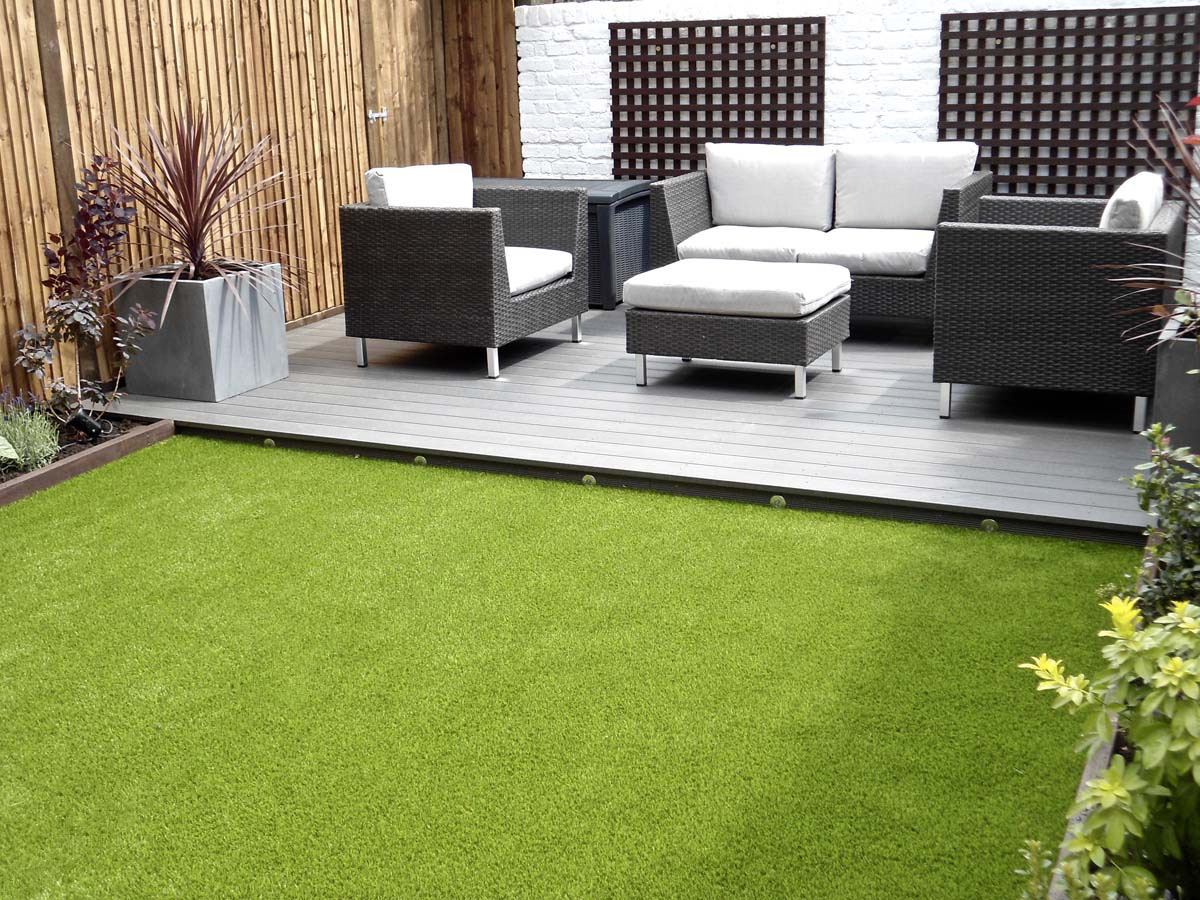 Grey garden decking area