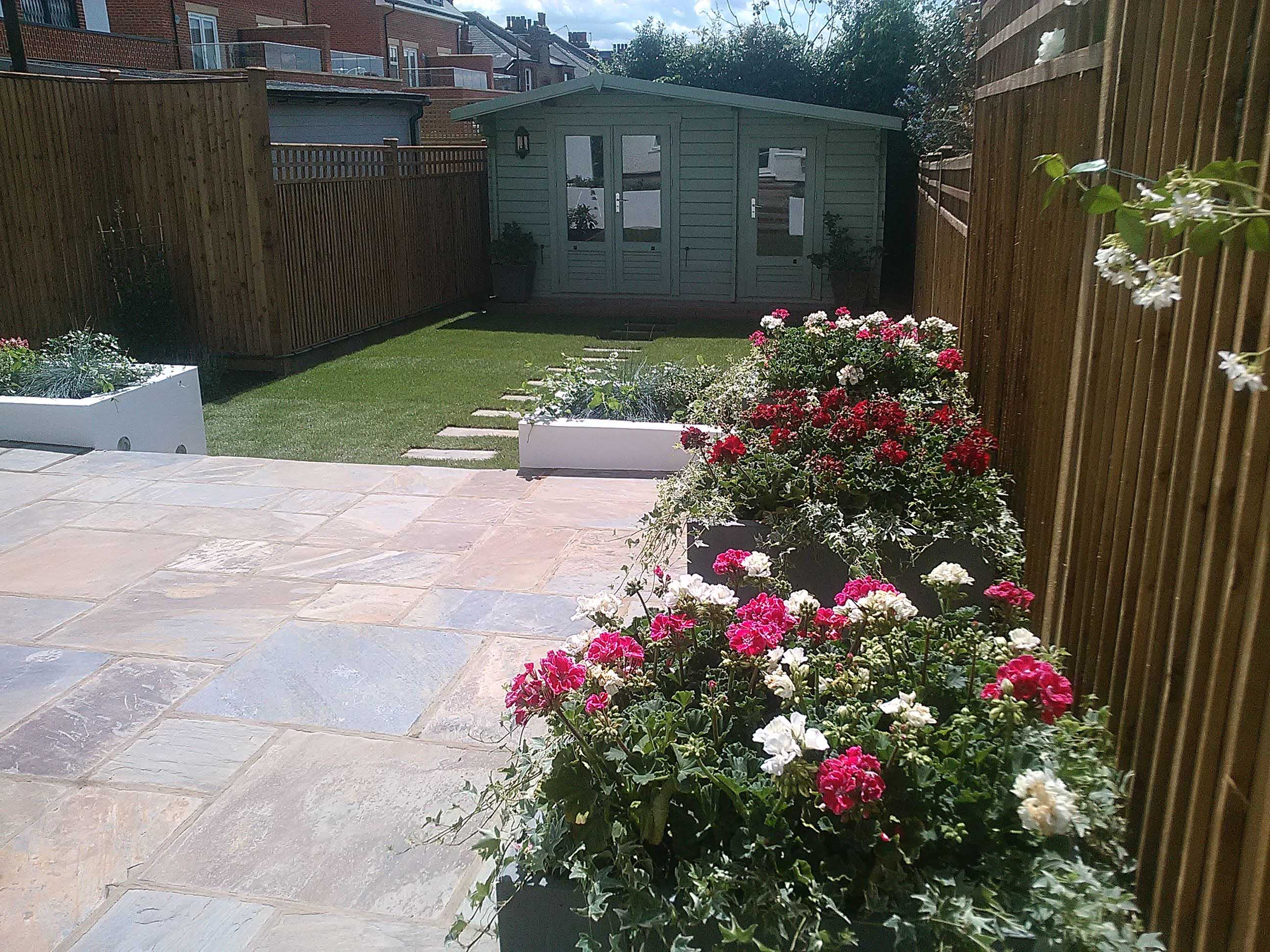 Grey stone patio garden Wimbledon