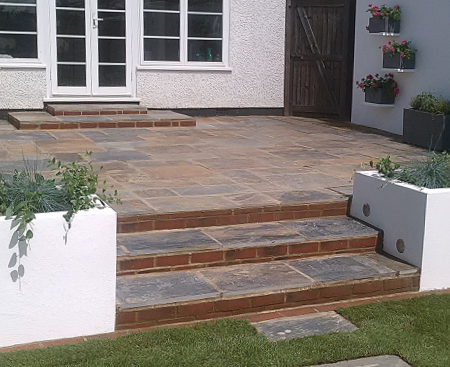 Stepped patio garden Wandsworth