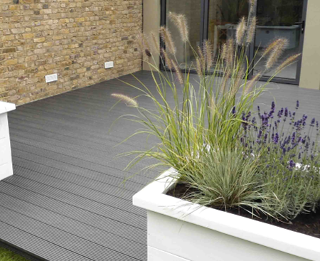Large grey garden decking